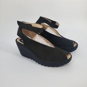 Fly London Yala Perforated Black leather sandal 38